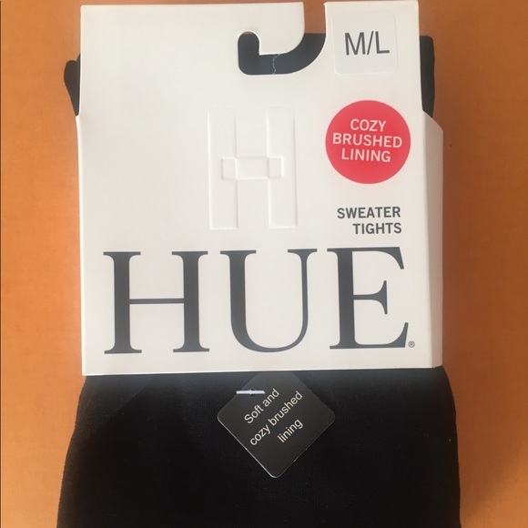 M//L Hue Sweater tights Cozy Brushed lining Black S//M